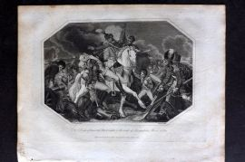 Lyttleton 1810 Military Print. Death of General Abercrombie, battle of Alexandria